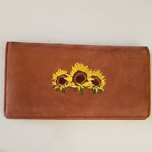 New leather embroidered sunflower checkbook wallet